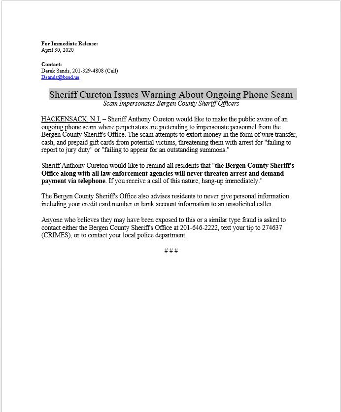 Sheriff Cureton Issues Warning About Ongoing Phone Scam